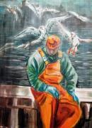 tableau personnages peche bateau vieux pecheur en mer : fin de pêche