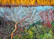 tableau paysages salins hyeres flore presses du midi : Couleurs des Salins, Salins de Hyères, pastel