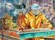 tableau scene de genre pecheurs crevettes atlantique : les pêcheurs de crevettes