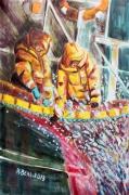tableau marine ocean pecheurs sardine bateau : La pêche à la sardine