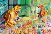 tableau marine pecheurs atlantique coquilles saintjacq rais de lumiere : Les pêcheurs de coquille Saint-Jacques