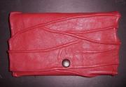 artisanat dart autres blague ,a tabac cuir agneau plonge rouge : Blague à tabac en cuir froissé rouge brique