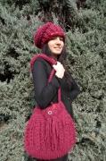 art textile mode alpaga tricot laine bordeaux : SAC ET BONNET EN LAINE