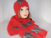 art textile mode bonnet mitaines col etoile : BONNET,MITAINES ET COL EN LAINE