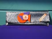 art textile mode autres pochette en autruche feutrine : POCHETTE EN PVC AUTRUCHE