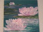 tableau fleurs nenuphars turquoises roses bleu : LES NENUPHARS ROSES