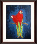 tableau animaux perroquet rouge amour couple : Les PERROQUETS ROUGES unique art tableau peinture