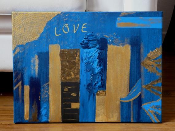 "TABLEAU PEINTURE or amour love nuit Abstrait Acrylique  - tableau peinture "" AMOUR BLEU """