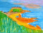 "tableau paysages vacances plage soleil normandie : tableau peinture "" Granville "" Normandie"