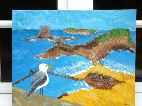 TABLEAU PEINTURE mer mouette soleil vacances Marine Acrylique  - tableau peinture ST MALO