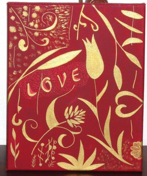 """TABLEAU PEINTURE fleur or amour love Abstrait Acrylique  - tableau peinture """" AMOUR ROUGE """""""