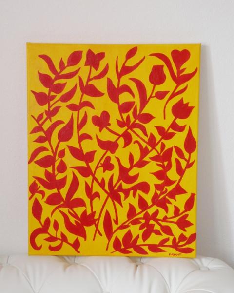 """TABLEAU PEINTURE fleur couleur soleil nature Fleurs Acrylique  - tableau peinture """" le printemps des fleurs """"      Agra"""