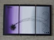tableau abstrait tryptique violet et gris : du violet au gris