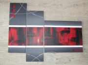 tableau abstrait tryptique abstrait rouge et noir : En rouge et noir