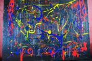 tableau abstrait : couleurs et coulures