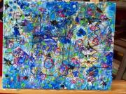 tableau abstrait vitrail acrylique : vitrail acrylique