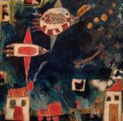 tableau personnages fusee etoiles maison enfant : vers les étoiles