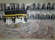tableau scene de genre mecque religion la ka aba calligraphie : la ka'aba