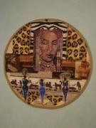 deco design autres africain set de table : Réalisation Africain sur set de table rond