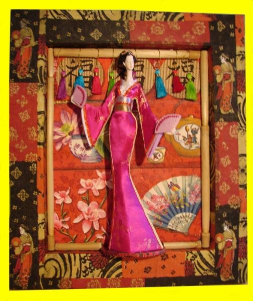 DéCO, DESIGN personnage chinoise rouge et noir  - cadre chinois