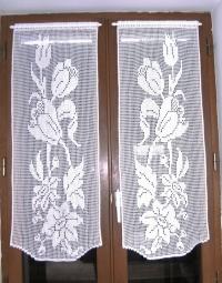 Rideaux fleurs et tulipes crochet fait main.