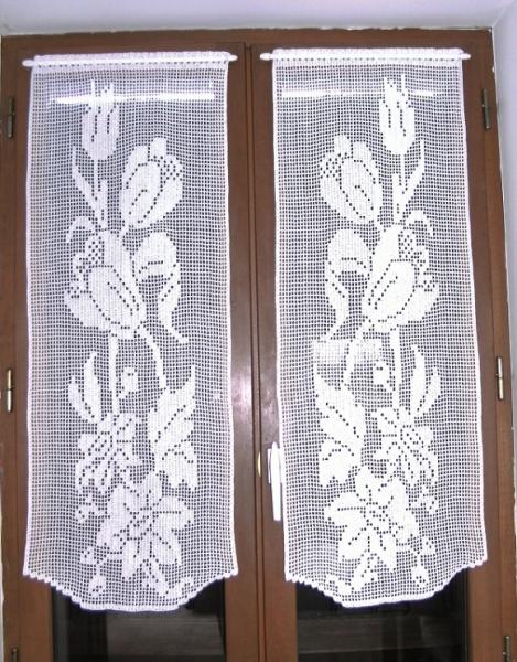 ART TEXTILE, MODE rideaux crochet fait rideaux brise vue fl rideaux au crochet s textile ameublement Fleurs  - Rideaux fleurs et tulipes crochet fait main.