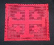 artisanat dart autres croix de jerusalem blason medieval croi chevalier croisade ,c napperon crochet : Blason médiéval Croix de Jérusalem rouge