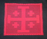 Blason médiéval Croix de Jérusalem rouge