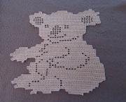 art textile mode animaux koala australie napperon koala napperon au crochet creation koala nappe : Koala napperon beige au crochet