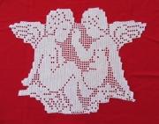 art textile mode personnages napperon ange napperon au crochet napperon fait main linge de table : Napperon Duo d'Anges au crochet fait main