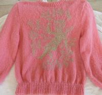 Pull rose et or Ange et fleur tricot création fait main