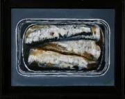 tableau nature morte peche mer : sardines à l'acrylique
