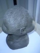 sculpture personnages caricature bust terre cuite vise : jeune fille au beau sourire