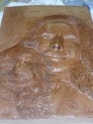sculpture personnages sculpture buste bas relief terre cuite bust : la fille et son chien