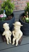 sculpture laurel et hardy caricature deco jardin : Laurel et Hardy