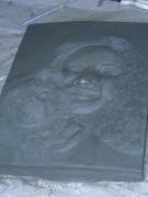 sculpture personnages buste bas relief bust vise : auré et son petit chien