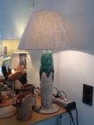 deco design architecture lampe ceramique vise emaillee vert : lampe céramique