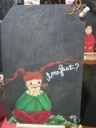 tableau personnages peinture ardoise tuile pense bete : Tableau mémo, sur ardoise