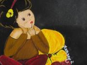 tableau personnages acrylique tuile ardoise pense bete : Tableau mémo, sur ardoise