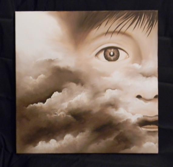 TABLEAU PEINTURE marron nuage enfant moderne Personnages Peinture a l'huile  - pensées d'enfant
