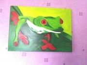 tableau animaux eclatant vert animaux enfants : la grenouille en vadrouille