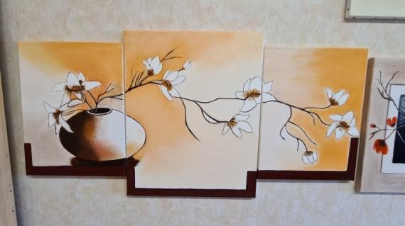 ARTISANAT D'ART Fleurs  - Magnifique Pot Avec des Fleurs