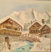 artisanat dart paysages : Chalet A La Montagne