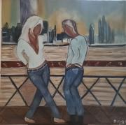 artisanat dart personnages : Couple Sur Le Pont