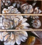 tableau fleurs fleurs pivoines marron tryptique : pivoines sépia