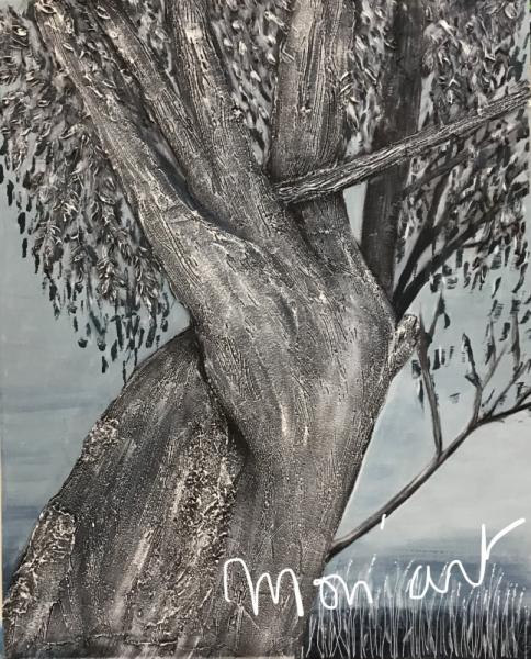 TABLEAU PEINTURE Gris saule arbre nature Paysages Acrylique  - Le vieux saule