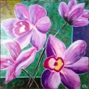 tableau fleurs orchidee fleurs roses peinture fleur bouquet : orchidées