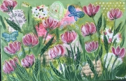 tableau fleurs acrylique fleurs mixte abstrait : Bel été