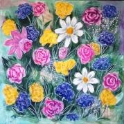 tableau fleurs fleurs mixte roses acrylique : fleurs multicolores