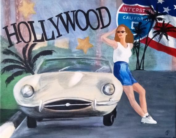 TABLEAU PEINTURE Hollywood Amerique pin'up voiture Villes Acrylique  - Hollywood